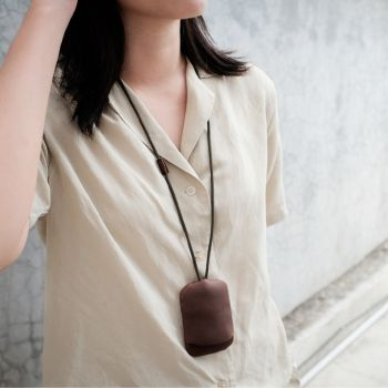 WALNUT neck strap key pouch #2